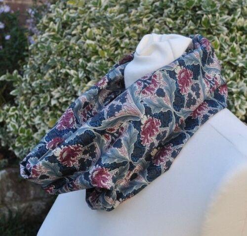 Cowl//snood Scarf in Liberty Tana Lawn cotton /'Burnham/' blue grey plum ivory