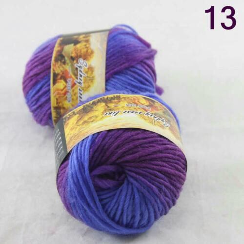 Hot 2 ballsx 50 g Multi Color Soft Thick À faire soi-même Tricot Pulls Laine Sock Yarn 13