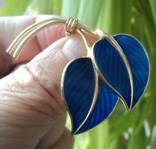 Norwegian Sterling Silver & Blue Enamel Leaf Brooch 1960s  -  Hans Myre Norway