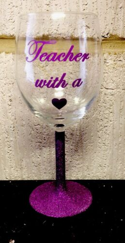 Wine Gift Glitter Thank You Best Teacher Wine Glasses