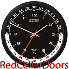 "TRINTEC ZULU CLOCK 12 & 24 HOUR DUAL TIME UTC MILITARY DSP4 HAM SHACK RADIO 10"""