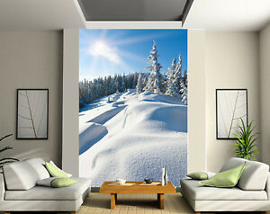 papier peint g ant 2 l s tapisserie murale d co montagne neige r f 170 ebay. Black Bedroom Furniture Sets. Home Design Ideas