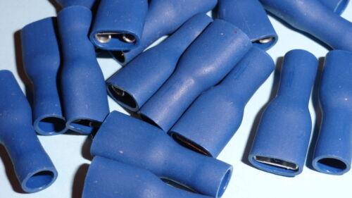 50 x Female Spade Terminal BLUE pre insulated 6.3mm