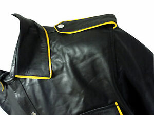 Mens-Yellow-Piping-Black-Leather-Short-Sleeve-Shirt-New-LLL-456Y-SMALL-TO-6XL