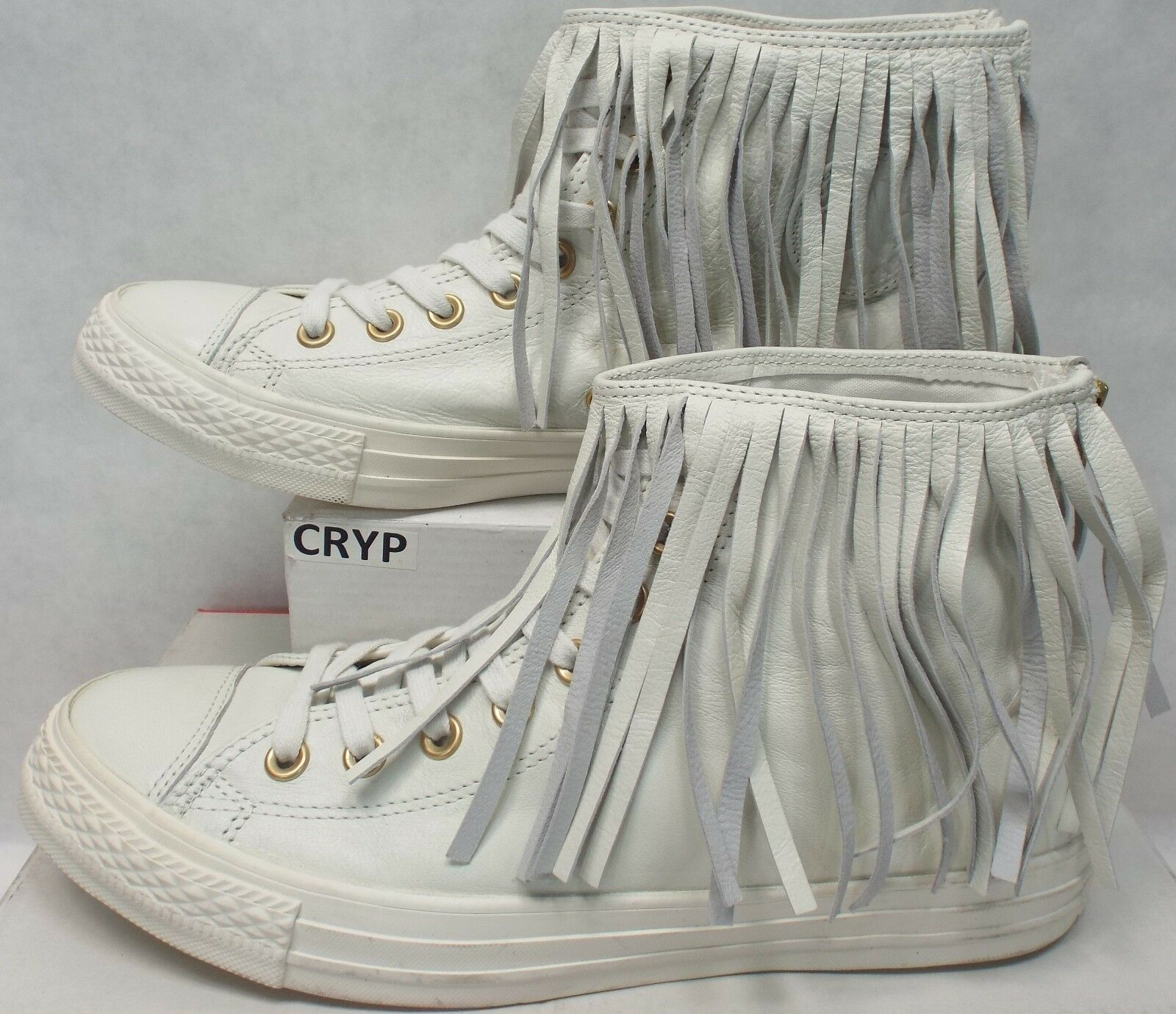 New Womens 6.5 CONVERSE CTAS Fringe Hi Egret Cream Leather shoes  125 551643C