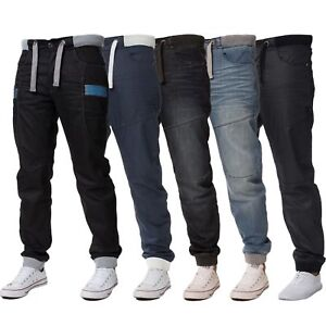 New-ENZO-Mens-Cuffed-Denim-Joggers-Jeans-Black-Blue-Big-King-Sizes-All-Waists