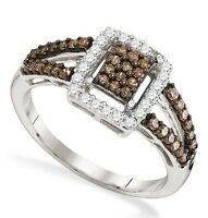 Great Look .925 Sterling Silver Chocolate Brown & White Diamond Ring .51ct