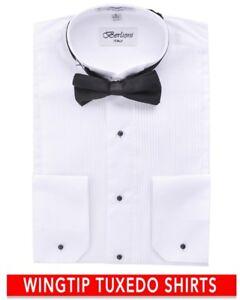 Berlioni-Italy-Men-039-s-Italian-Tuxedo-Wingtip-Collar-W-Bow-tie-Dress-Shirt-White