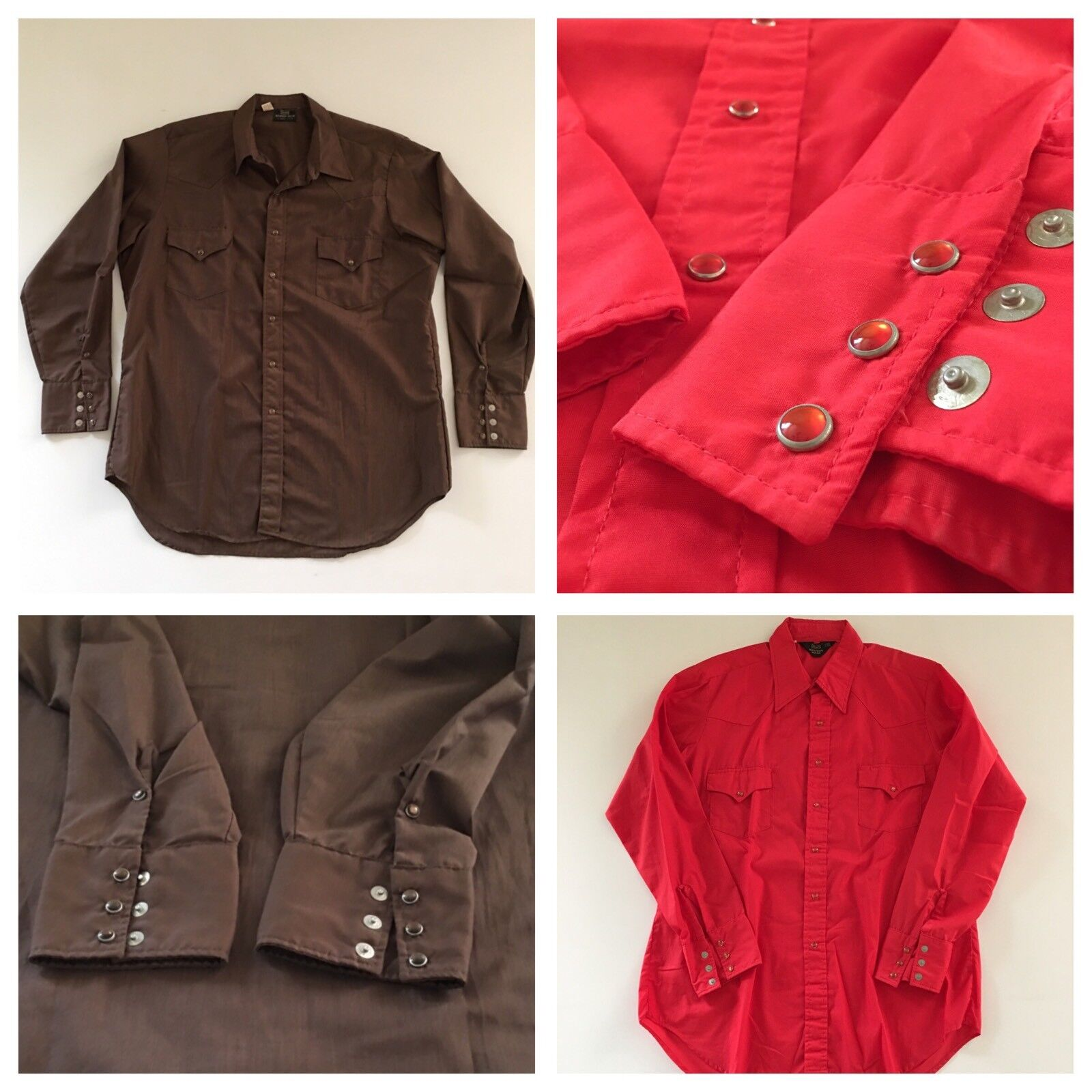 X2 Vintage SEARS WESTERN WEAR Pearl Snap Shirts XL 50  Chest BROWN + RED