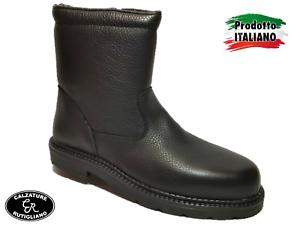SCARPE UOMO STIVALI Nero Made In Italy Vera Pelle Cerniera