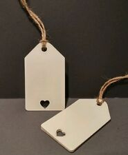 24 IVORY VINTAGE HEART LUGGAGE LABELS/TAGS,HEART CUT OUT WEDDINGS - TG001