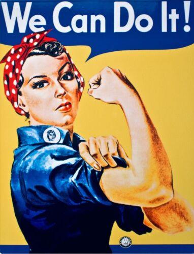 "TIN SIGN /""We Can Do It Ladies/"" Patriotic Garage Rosie Riveter Me Too Women Gal"