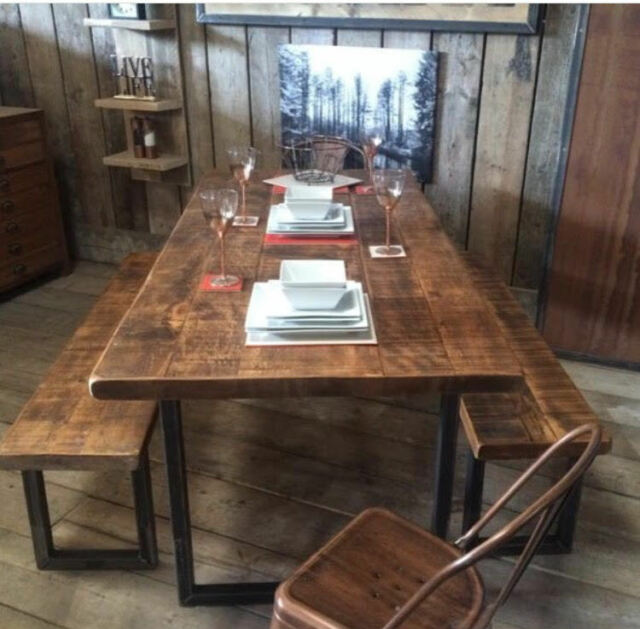 Industrial Rustic Reclaimed Plank Top Dining Table With U Steel Base