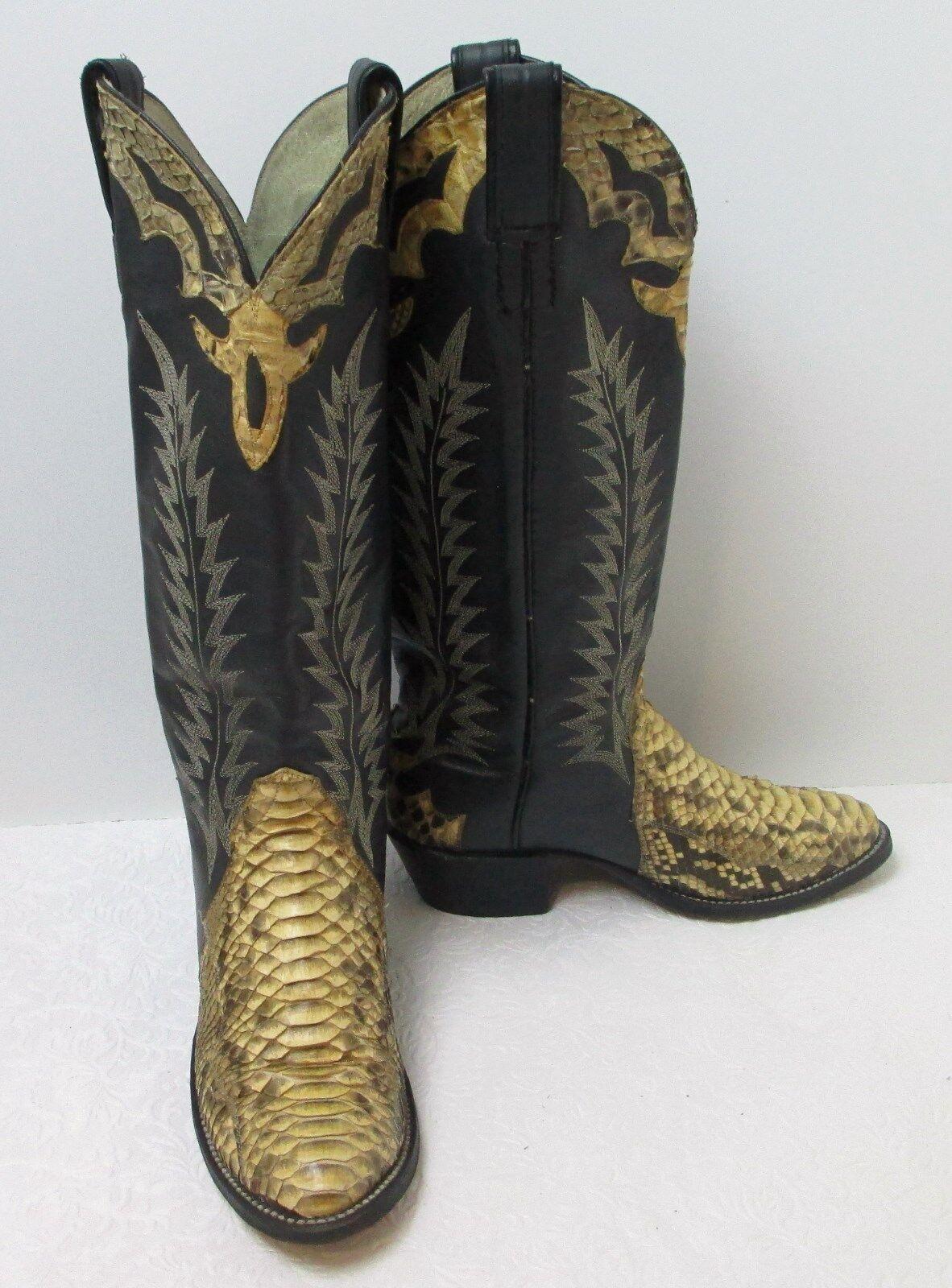 Women's Vintage Exotic Python Western Cowboy Boots Sz 5 M