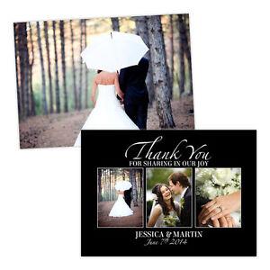 Personalised-wedding-thank-you-cards-BLACK-WHITE-THREE-PHOTOS-FREE-ENVELOPES-amp-D