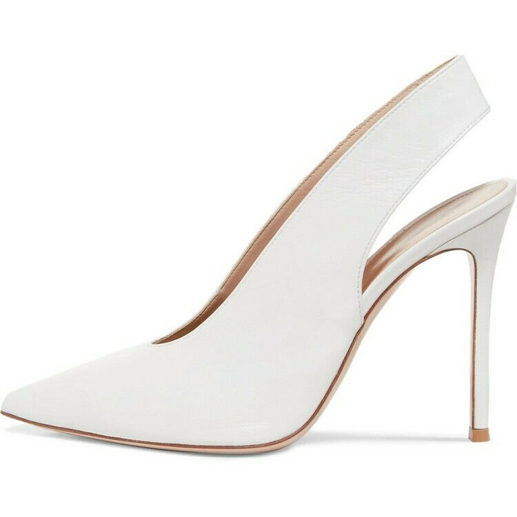 New Elegant Women's Women's Women's White High Heels Faux Leather Causal Cocktail Party shoes 98a064