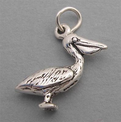 PELICAN BIRD Sterling Silver Charm Pendant 3D SC280