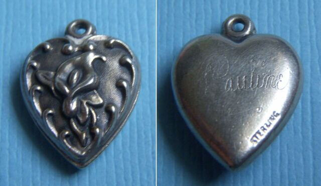 """Vintage calla lily flower """"Pauline"""" puffy heart sterling charm"""