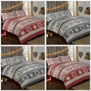 Rapport-Stockholm-100-Brushed-Cotton-Flannelette-Duvet-Cover-Bed-Set-Red-Or-Grey