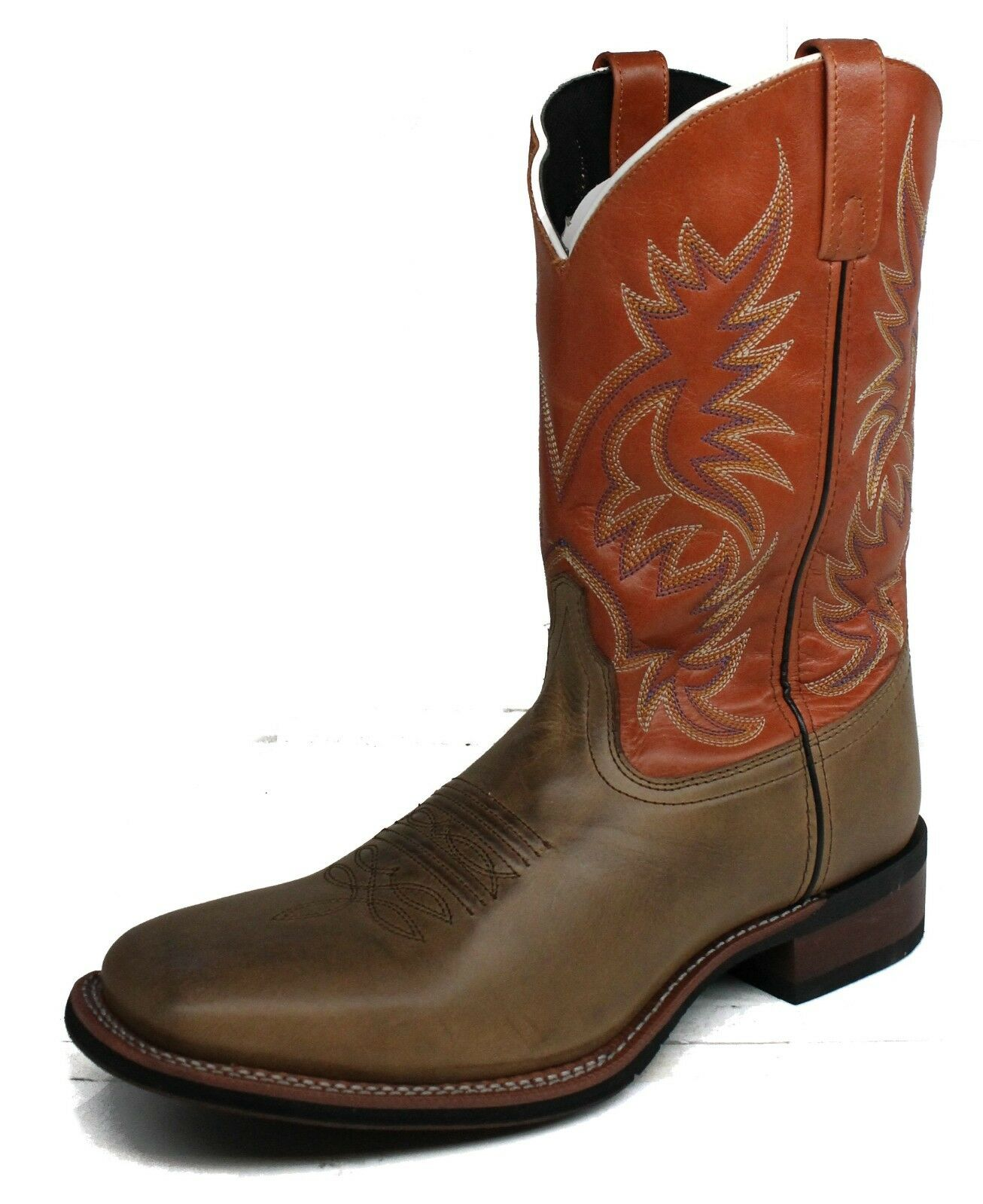 Mens Laredo® 11 Tan orange BS Western Cowboy Leather Work Boots  Size 10 D