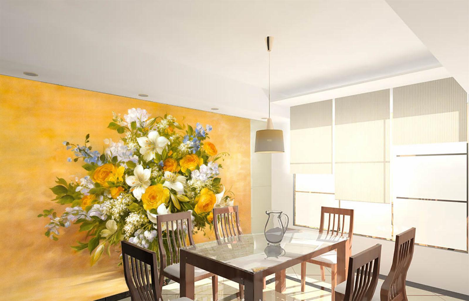 3D Gelbe Rosa Weiße Lilie 864 Tapete Wandgemälde Tapete Tapeten Bild Familie DE  | Angenehmes Aussehen  | Online Outlet Shop  | Schön und charmant