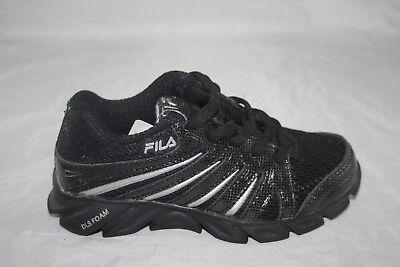 youth fila swyft black/black/metallic silver casual shoe