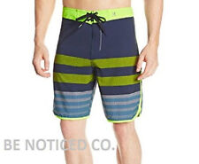 Hurley Men's P60 Warp 4 Board Shorts Stripped 28 Blue Volt Swim New