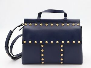 NWT-Tory-Burch-T-Stud-Navy-Blue-Leather-Satchel-Crossbody-Shoulder-Bag-New-598