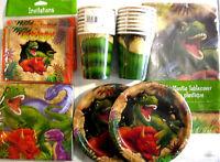 Dino Blast Dinosaur - Birthday Party Supplies Set Pack Kit 16 W/ Invitations