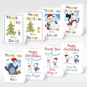 12x Personalised A6 Christmas Thank You Cards Greeting Childrens