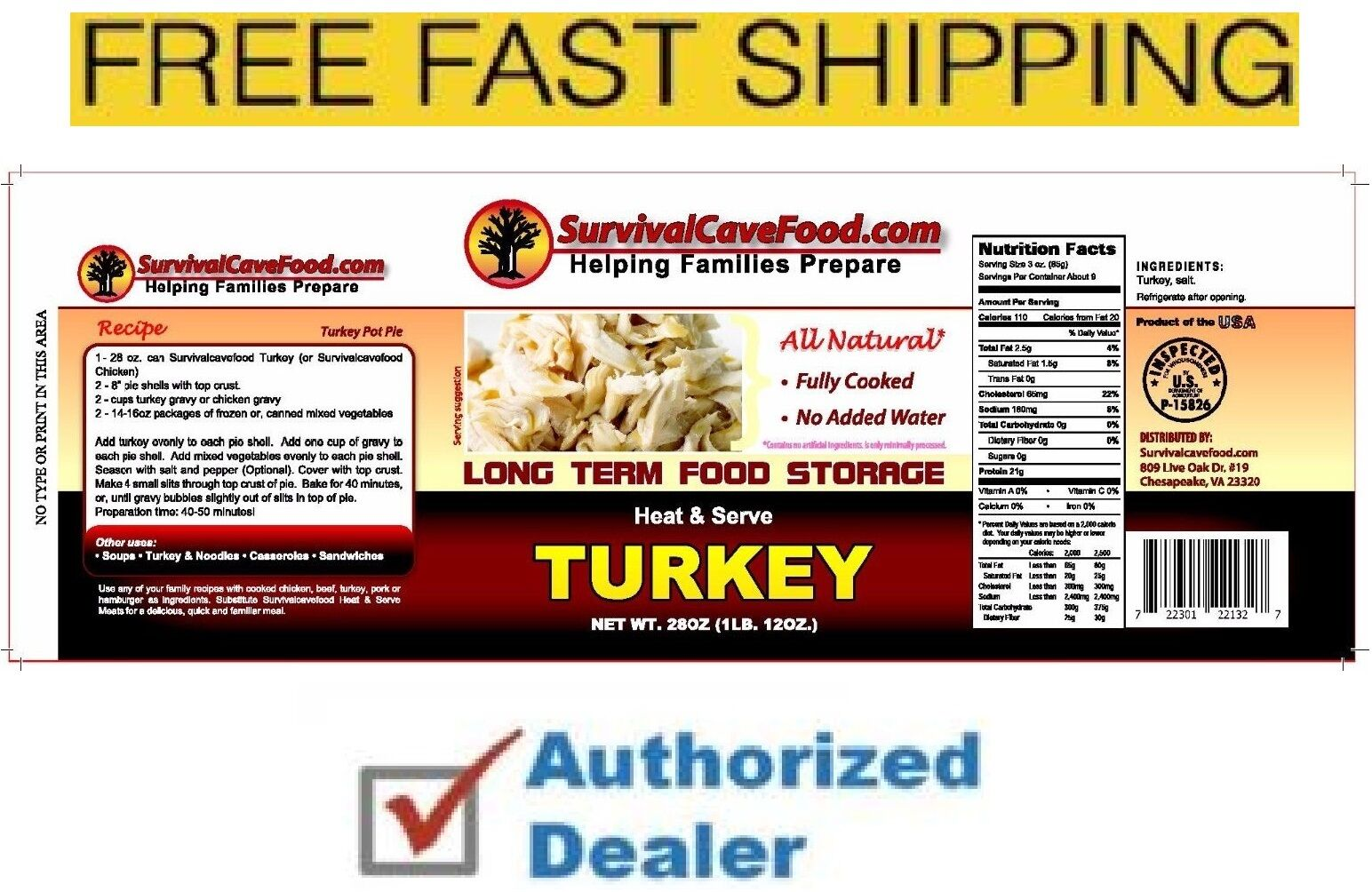 New - Survival Cave Food 12 Cans 28 oz Canned Turkey - Free Fast Shipping