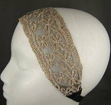 "Cream Gold Black 2.5"" wide stretch Lace headband hair band accessory"