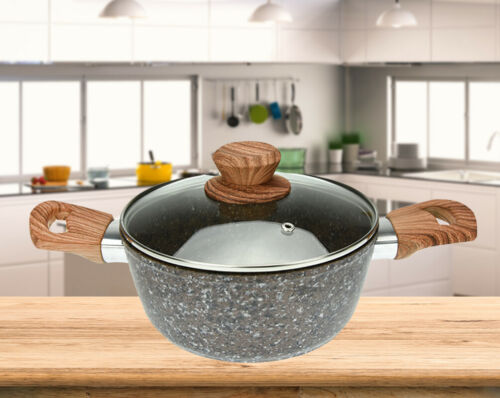 Granit Topf 20//24 cm Kochtopf mit Glasdeckel Kasserolle