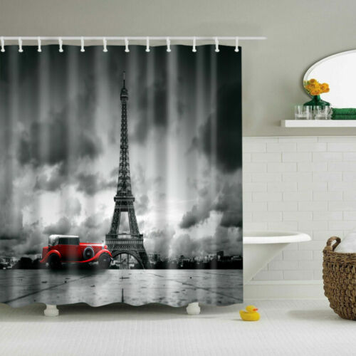 Eiffel Tower Polyester Waterproof Bathroom Fabric Shower Curtain With 12 Hook