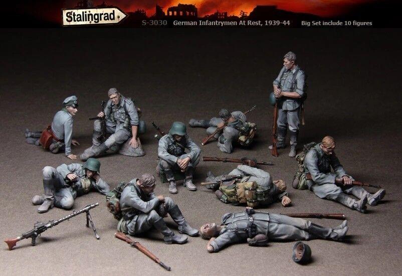 1 35 Stalingrad S-3030 German Infantrymen At Rest (10 Figures) Resin Model Kit