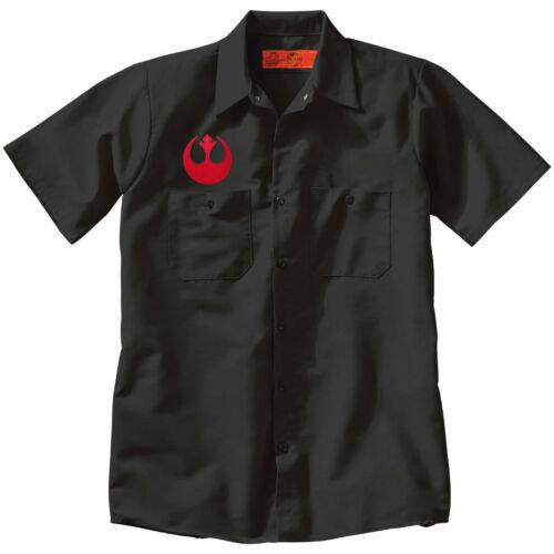 Star Wars REBEL ALLIANCE Jedi Button Up Mechanic style Work SHIRT Black punk