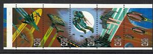 1993-Space-Fantasy-booklet-pane-IMAGE-ON-TAB-Sc-2745a-plate-number-1111