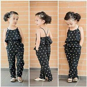 Summer Toddler Kids Girls Love Heart Straps Rompers Jumpsuits Pants