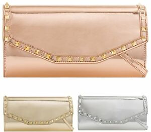 Clothing, Shoes & Accessories Women's Clutches Mirror Metallic Envelope Women Clutch Patent Leather Evening Prom Bag Long Strap