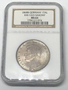 1868-B GERMANY 🇩🇪 TAL SAXONY MINING Taler MS 63 Silver World 🌍 Coin - RARE!