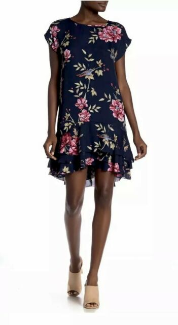 Joie Womens Size Small Navy Blue Coreen Silk Tiered Ruffle Floral Shift Dress