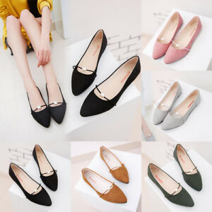 Ladies-Women-039-s-Solid-Color-Suede-Flat-Heel-Pearl-Flat-Heel-Pointed-Casual-Shoes