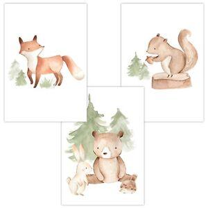 Details Zu 3 Wandbilder Baby Kinderzimmer Deko A4 Wald Fuchs Hase Bär Igel Eichhörnchen