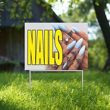 Nails Yard Sign Corrugate Plastic H Stakes Beauty Salon Barber Shop Manicure