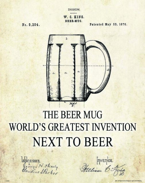Beer Mug Patent Poster Art Print Vintage Pub Bar Craft Home Brew Hops Wall Decor