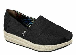 Skechers-BOBS-Wedge-Canvas-Shoe-Womens-Casual-Memory-Foam-Black-Size-US-6-5
