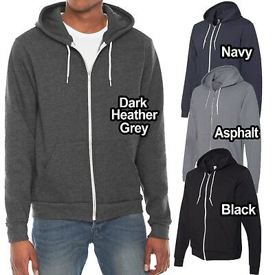 1 Dark Heather Grey//Black American Apparel F497 Fleece Zip Hoodie S 1 White