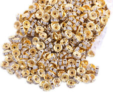 50 Pcs 6mm Gold Plated Crystal Spacers Rondelle Beads Jewelry Findings Charms