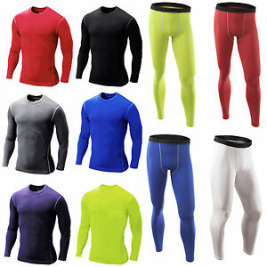 Mens-Compression-Armour-Base-Layer-Under-Skin-Fit-Long-Sleeve-Top-Leggings-Pants