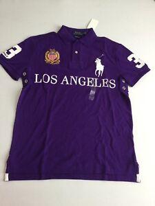 432e8f7d Ralph Lauren Men's Los Angeles Polo Shirt Number 3 Slim Fit Purple ...